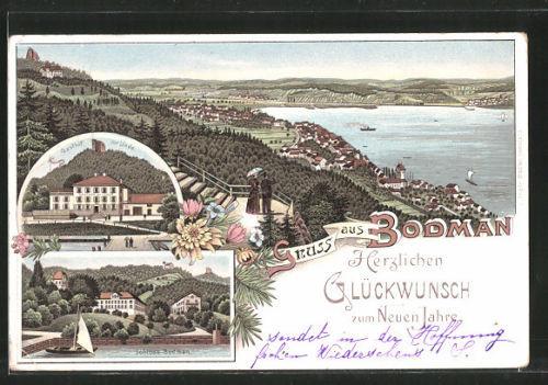 schöne Lithographie Bodman, Gasthaus zur Linde, Schloß, Totalansicht 1906