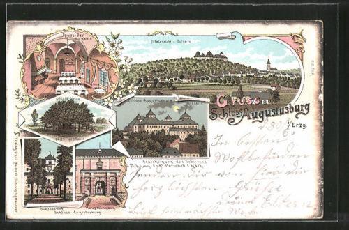 Lithographie Augustusburg, Schloss Augustusburg bei Vollmond, Schloss-Linde, Sc