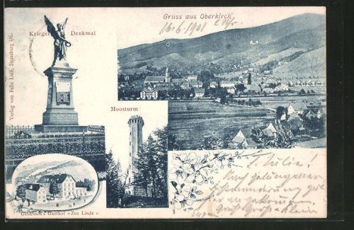 AK Oberkirch, Krieger Denkmal, Moosturm, Geldreich´s Gasthof Zur Linde, Orstans