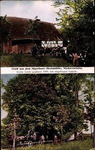 Ak Bretmühle Niederzwönitz Zwönitz, Jägerhaus, Uralte Linde, Galerie - 10037186