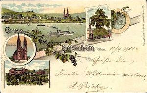 Litho Geisenheim am Rhein Hessen, Pfarrkirche, Lehranstalt, Linde,... - 10085752