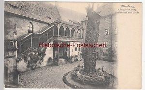(109653) AK Burg Nürnberg, Schlosshof mit Linde, um 1904