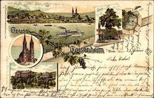 Litho Geisenheim am Rhein Hessen, Pfarrkirche, Linde, königliche... - 1157352