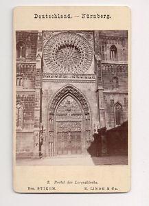Vintage CDV St. Lorenz Church, Nuremberg Germany E. Linde & Co. Photo