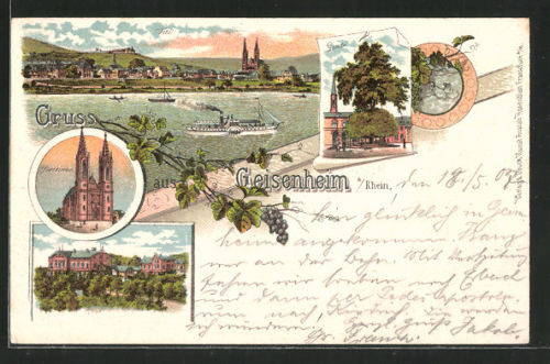 Lithographie Geisenheim, Pfarrkirche, Linde, Dampfer passiert den Ort 1907