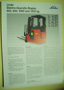 Sales Brochure Original Prospekt Linde Elektro-Quersitz-Stapler L 6ZT,L8ZT,L10ZT