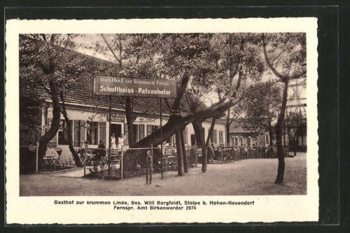 alte AK Stolpe, Gasthaus zur krummen Linde 1934