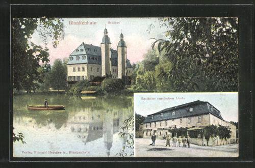 Relief-AK Blankenhain, Gasthaus zur hohen Linde, Blick zum Schloß, Ruderboot