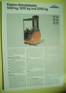 Sales Brochure Original Prospekt Linde Elektro-SchubStapler R14, R16, R20