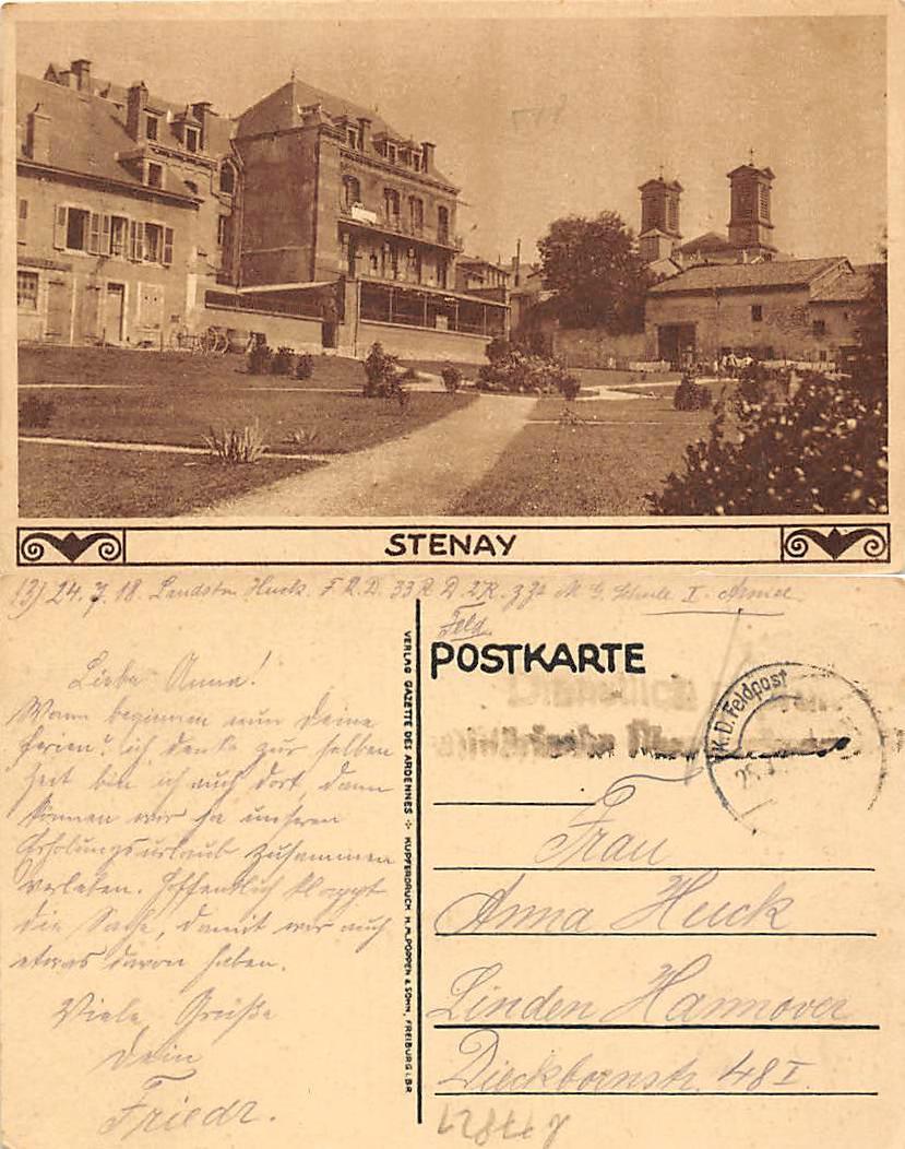 (b77821)   Feldpostansichtskarte Stenay 1918 nach Linde