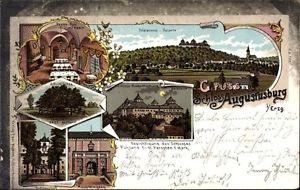 Litho Augustusburg im Erzgebirge, Schloss, Linde, Hof, Speisesaal,... - 1216356