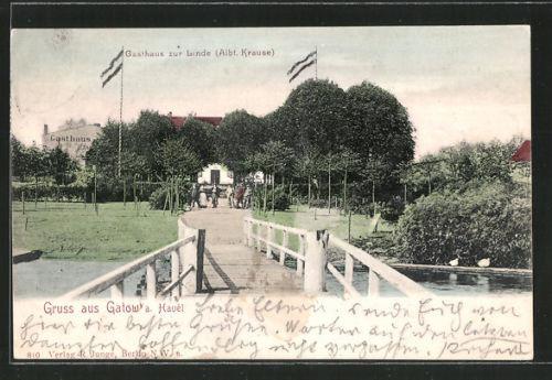 tolle AK Berlin-Gatow, Gasthaus zur Linde v. A. Krause 1904