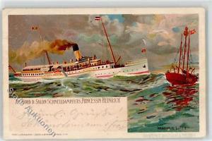 51622824 - Prinzessin Heinrich mit Schiff Elbe sign. Linde Wladimir Verlag Juerg