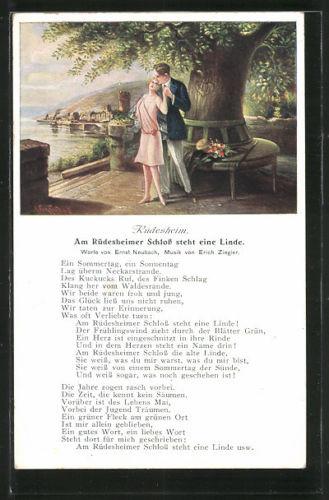 schöne Lied-AK Rüdesheim, am Rüdesheimer Schloss steht eine Linde