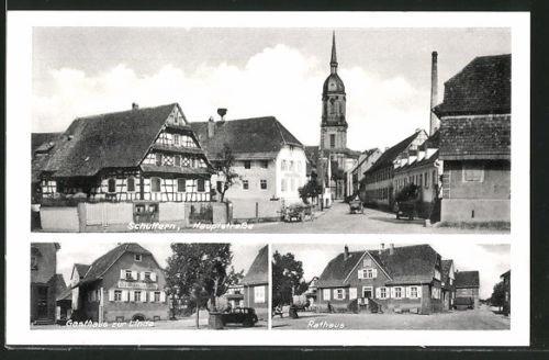 alte AK Schuttern, Gasthaus Zur Linde, Rathaus, Hauptstraße