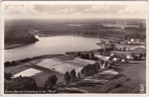 Löwenberg (Mark) Luftbild - Linde See Foto Ansichtskarte b Oranienbaum 1936