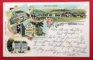 Litho AK MÜHLAU in Sa. 1910 Neue Schule, Gasthof zur Linde ( 13884