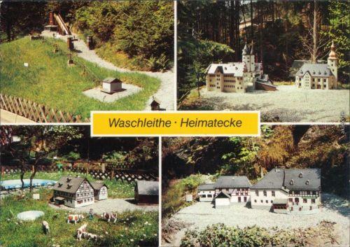 """Waschleithe Grünhain Beierfeld  Kirche, Niedere Mühle, Gasthof """"Zur Linde"""" 1990"""