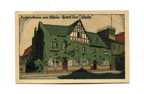 Vintage lithograph  Postcard Hotel Zur Linde   Geisenheim Ruhr Germany