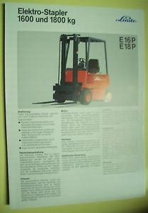 Sales Brochure Original Prospekt Linde Elektro-Stapler E16P  E 18P