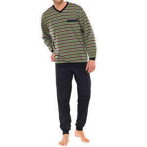 Schiesser Pyjama Schlafanzug  Lang, linde,  grün, Gr. 2XL/Gr. 56