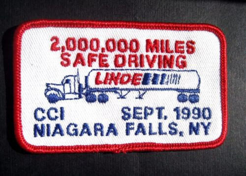 """LINDE TRUCKING SAFE DRIVING EMBROIDERED PATCH NIAGARA FALLS NY 3 1/2"""" x 2"""""""