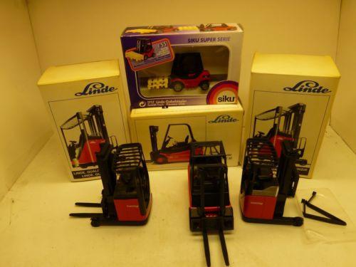 LOT OF FOUR,LINDE/SIKU,ELECTRO-STAPLER,GERMAN METAL TOY TRACTORS,ORIGINAL BOXES