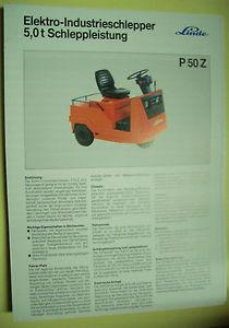 Sales Brochure Original Prospekt Linde Elektro-Industrieschlepper P 50 Z