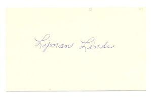 Lyman Linde Autograph 3X5 Indians 1947 D-95 EX!!