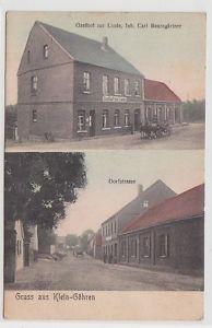 71560 Ak Gruss aus Klein-Göhren, Gasthof zur Linde, Dorfstrasse um 1920