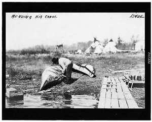 Mending,canoe,transportation,maintenance,tipis,North,Ojibwa Indians,Linde,c1913