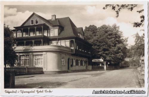 Foto Ansichtskarte Sitzendorf Hotel Linde b Saalfeld Rudolstadt 1936