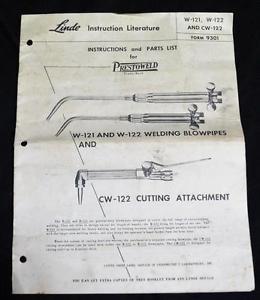 LINDE AIR PRODUCTS PRESTOWELD WELDING INSTRUCTION & PRICE LIST BROCHURE 1951