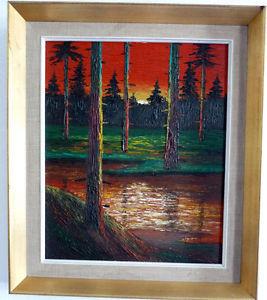 Puesta de sol la mayor parte Linde del bosque, V. Serber, Medio 20. Jh