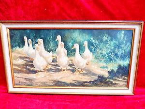Emebellecedor , antiguo pintura__patos la mayor parte linde del bosque__firmado