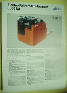 Sales Brochure Original Prospekt Linde Elektro-Fahrersitzhubwagen T 30 R  3000kg