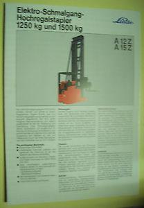 Sales Brochure Original Prospekt Linde Elektro-Schmalgang-Hochregalstapler A12Z