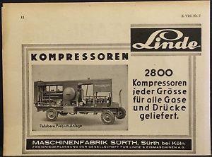 Linde Kompressoren,fahrb.Preßluftanlage,Maschin.fab.Sürth,Köln,orig.Anzeige 1937