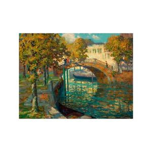 Quadro su Pannello in Legno MDF Ossip Leonovitch Linde Overlooking the canal