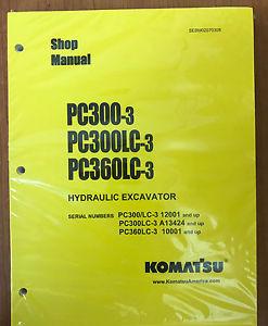 KOMATSU PC300-3 PC300LC-3 PC360LC-3 Excavator Shop Manual / Repair Service