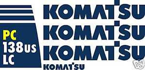 Komatsu PC138USLC Excavator - Decal Graphics Kit