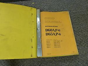 Komatsu D60A-6 D60P-6 D60PL-6 Crawler Tractor Dozer Shop Service Repair Manual