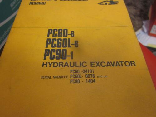 Komatsu PC60-6 PC60L-6 PC90-1 Hydraulic Excavator Operation & Maintenance Manual