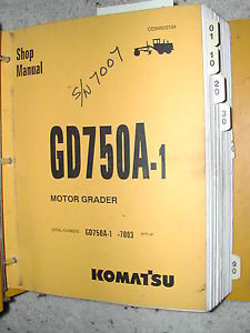 Komatsu GD750A-1 SERVICE SHOP REPAIR MANUAL MOTOR GRADER CEBM002104 BINDER BOOK