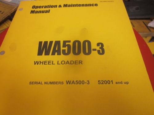 Komatsu WA500-3 Wheel Loader Operation & Maintenance Manual s/n 52001 & Up