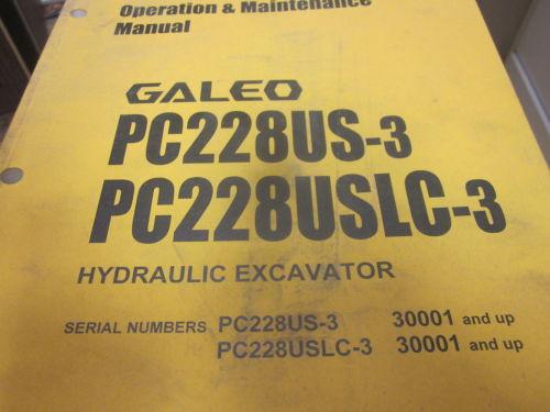 Komatsu PC228US-3 PC228USLC-3 Excavator Operation & Maintenance Manual 2004