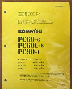 Komatsu PC60-6 60L- PC90-1 REPAIR SERVICE MANUAL EXCAVATOR