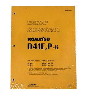Komatsu D41E-6, D41P-6 w/ 6D102E-2 Engine Service Printed Manual