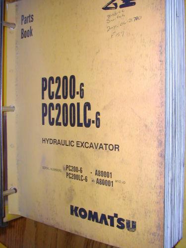 Komatsu PC200-6 & LC-6 PARTS MANUAL BOOK CATALOG HYD. EXCAVATOR GUIDE BEPBX20601