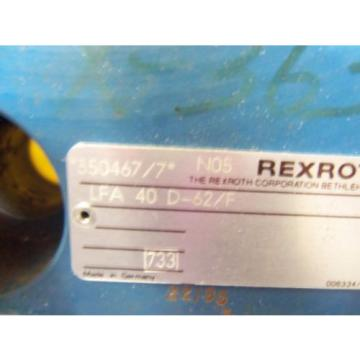 REXROTH Dutch USA HYDRAULIC VALVE LFA 40D-62/F (AS PICTURED) * USED*
